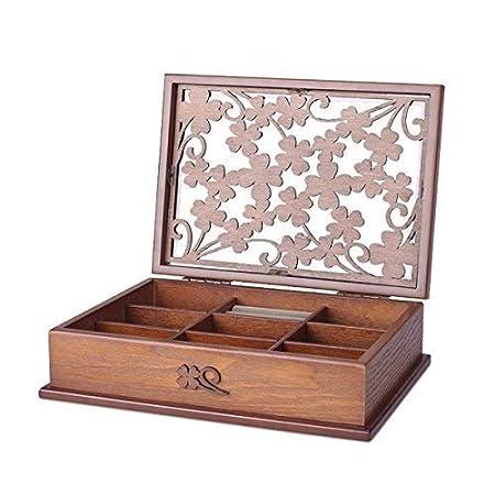 FLYSXP Caja de Madera para Joyas, Hecha a Mano, con diseño de Flor ...