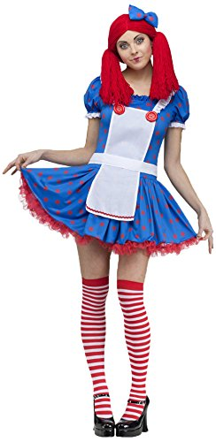 Fun World Costumes Women's Sassy Raggedy Ann Adult Costume, Blue/White, Small (6-8)
