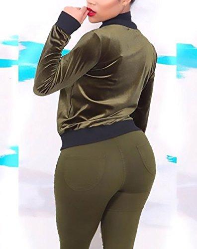Lunga Elegante Corta Bomber Giubbotto Invernali Con Vintage Verde La Baseball Fit Women Velluto Giacche Outerwear Slim Manica Zip Giubbino Giacca Grazioso Cappotto Giovane Donna Classica Moda Autunno OEq8nT