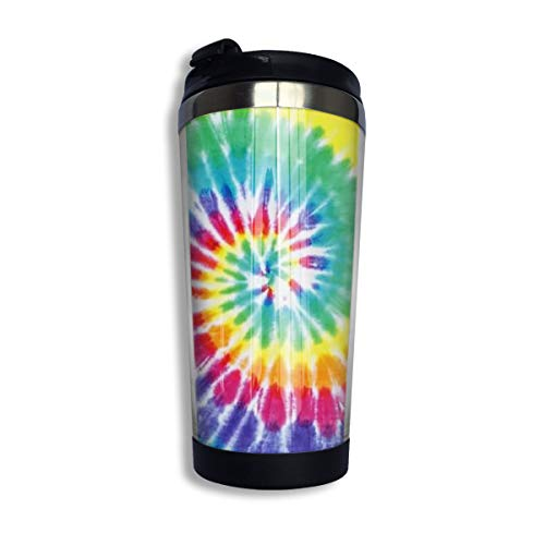 FUNSTYEET Tye Dye Stainless Steel Insulated Coffee Travel Mug with Flip Lid for Tea Coffee 12 Oz