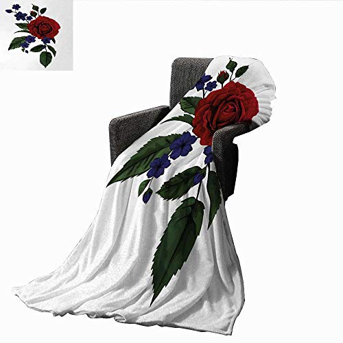(AndyTours Baby Blanket,Rose,Rosebud with Little Blossoms Leaves Love and Passion Theme Artful,Ruby Violet Blue Hunter Green,Super Soft Light Weight Cozy Warm Plush Hypoallergenic Blanket 50