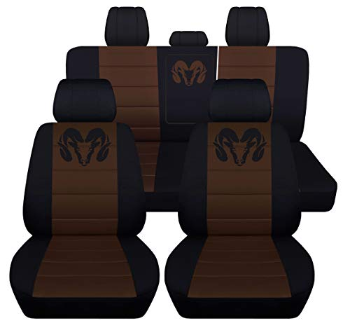 Designcovers 40 20 40 Front and Rear Seat Covers for 2013 to 2018 Dodge Ram 22 Color Options (Rear 40-60 with Armrest, Black Brown) price tips cheap