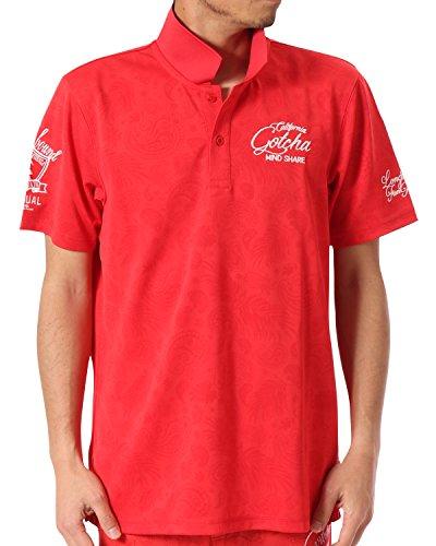(ガッチャ ゴルフ) GOTCHA GOLF ポロシャツ UVカット ドライ ペイズリー シャツ 182GG1209 ライトレッド Sサイズ