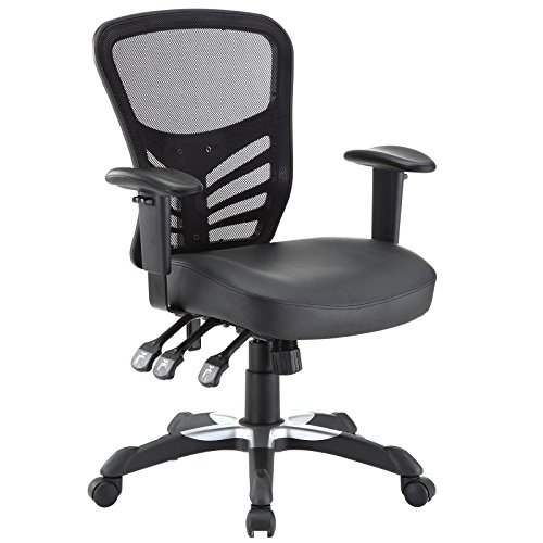 Modway Articulate Mesh Office Chair with Fully Adjustable Black Vinyl Seat (Office Of Chairs Types)