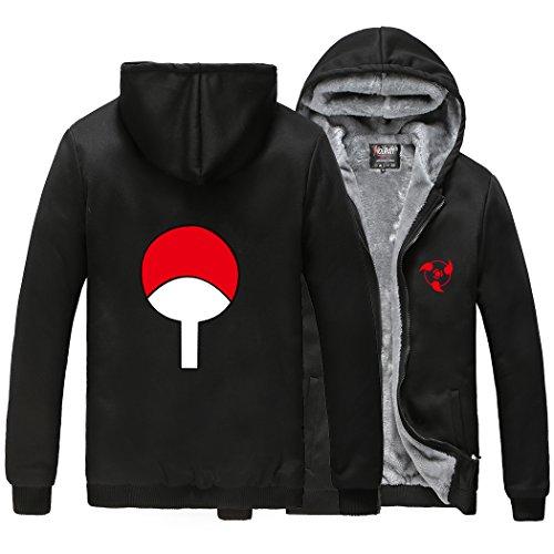 - HOLRAN Anime Naruto Uchiha Sharingan Thicken Jacket Cosplay Hoodie (Black X-Large)