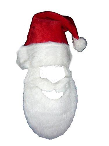 J22223 Plush Santa Hat W Attached Beard