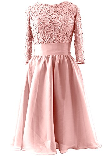 MACloth Women Half Sleeve Lace Short Mother of Bride Dress Formal Evening Gown (24w, Blush Pink)
