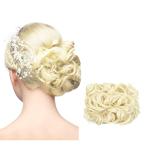 bestheart Messy Hair Bun Extensions Curly Hair Scrunchies Bun Extensions for Women Girls Updo Donut Hairpiece (K)