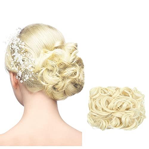 bestheart Messy Hair Bun Extensions Curly Hair Scrunchies Bun Extensions for Women Girls Updo Donut Hairpiece (K)