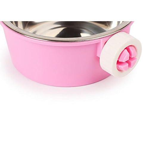 Yonger Pet Dog Bowl Stainless Steel Removable Hanging Pet Bowl Food Water Dish Feeder Dog Bowl Blue