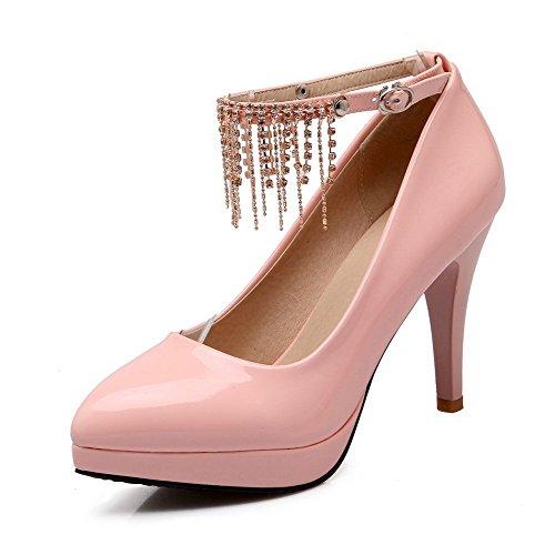 Allhqfashion Mujeres Pu Hebilla Sólida Acentuada Cerrado Toe Tacones Altos Bombas-zapatos Pink-pu