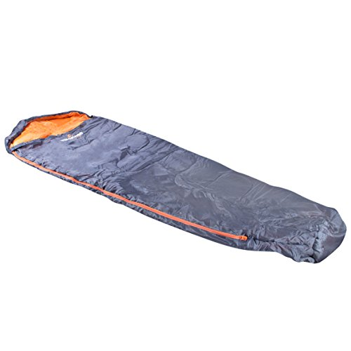 Milestone Camping Mummy Sleeping Bag - Dark Grey (Orange)