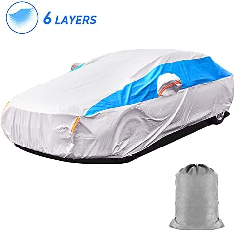 """HIRALIY 6 Layers Waterproof Car Cover for All Weather Snowproof UV Protection Windproof Outdoor Full car Cover (Fit Sedan Length Up to 178"""")"""