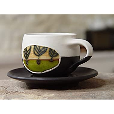 Pottery Coffee Cup with Saucer, Espresso cup, Tea cup