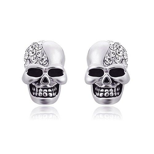 Darkey Wang Unisex Retro Glossy Full Diamond Skull Personalized¡¯s Earrings (Sliver)