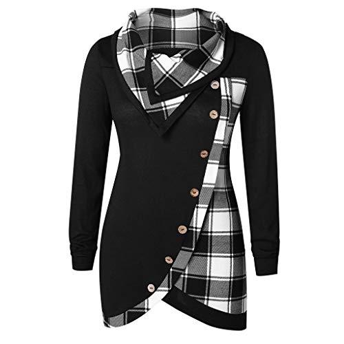 TUSANG Women Long Sleeve Plaid Turtleneck Tartan Tunic Sweatshirt Pullover Tops Women's Deep O Neck ()