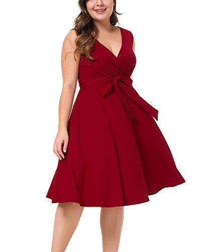 Women's Plus Size Surplice V Neck Sleeveless High Waist A-line Midi Daily Dress Wine (Size 18 Fancy Dress)