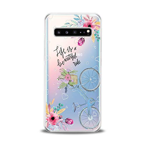 (Lex Altern TPU Case for Samsung Galaxy s10 5G Plus 10e Note 9 s9 s8 s7 Clear Bicycle Quote Silicone Cute Cover Fantasy Gift Print Hearts Protective Lightweight Floral Flex Pattern Girls Women Present)