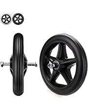 Wheelchair Caster Wheel, Solid Tires Front Wheel, for Replacement Wheelchairs Rollators Wheel, 6 7 8 Inch, Silence,Anti-wear & Non-Slip, Firm Tread for Easier Rolling, Black, Grey, 2 Pcs
