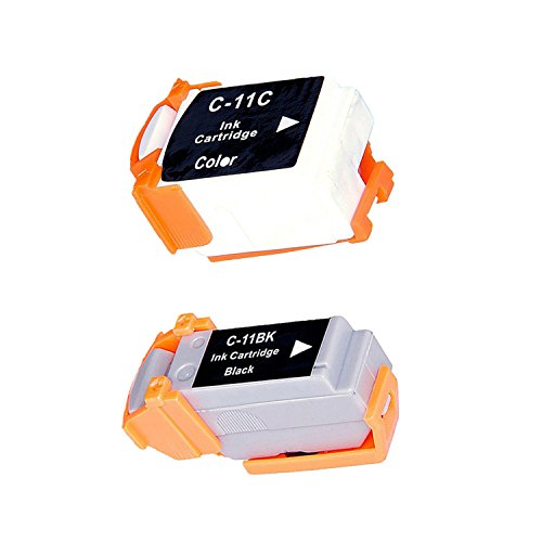 Compatible Ink Cartridge Replacement for Canon BCI-11BK BCI-11C (1 Black 1 Color) 2 Pack