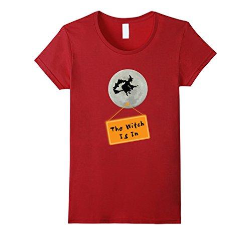 Hilarious Homemade Halloween Costumes (Womens Hilarious The Witch Is In Easy Halloween Costume T-shirt XL Cranberry)