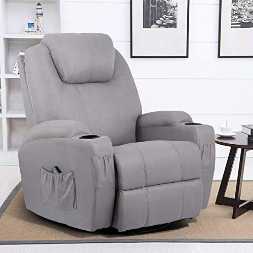 Esright Grey Fabric Massage Recliner Chair 360 Degree Swivel Heated Ergonomic Lounge