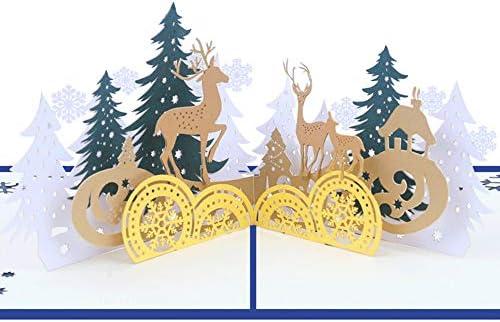 Tomorrow Sun Shine 10-Pack Feliz Navidad Conjunto De Tarjetas De Felicitación, Elk Pop Up, Vacaciones De Invierno, Navidad/Año Nuevo/Tarjetas De Cumpleaños (15 * 12.5 Cm): Amazon.es: Hogar