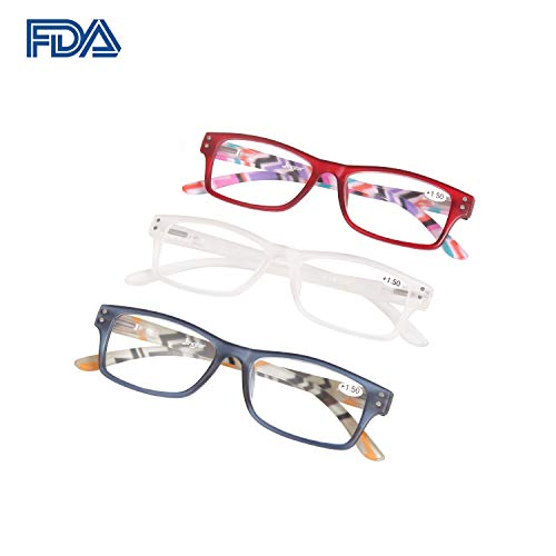 Reading Glasses Woman 3 Pairs Flexible Frame High Clarity Reader Fashion Colors Magnification (+1.50)