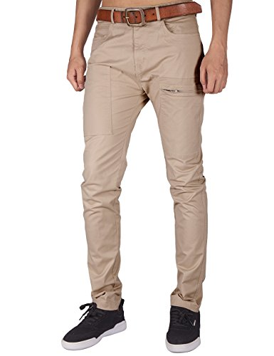 Weekend Chino Pants - ITALY MORN Men's Flat Front Chino Pant Multi Pockets (Cream Khaki, M)