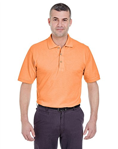 UltraClub 8535 Mens Classic Pique Polo Tangerine ()