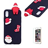 Cute Cartoon Case For iPhone XS Max,Funyee Stylish 3D Christmas Santa Claus Design Ultra Thin Soft TPU Silicone Case for iPhone XS Max 6.5 inch,Anti-scratch Rubber Durable Shell Smart Phone Case with Free Screen Protector,Black