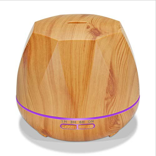 (MMGN 400ml Atomization Prismatic Essential Oil Diffuser Wood Grain Diffuser with Auto Shut-Off, 7 Color Light Aromatherapy Oil Diffuser Humidifier for Bedroom Office,Yellow)