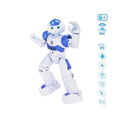 Hot Tuscom Remote Control RC Robots, Interactive Robot Control Walking Singing Dancing, 16x8x26.5cm for Boy Girl Gift Educational Toy (White)]()