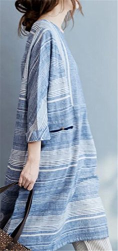 Sleeve Blue 3 4 Dress Fit Loose Crew Jaycargogo Women's Neck Maxi Floral qwPXRYI