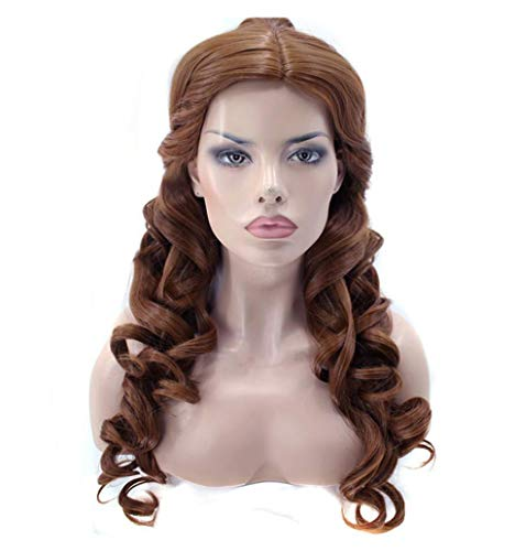 Natural Long Body Wave And The Beast Clip Ponytail Brown Princess Synthetic Cosplay Wig For Halloween Party,Brown,24inches -