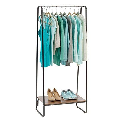 IRIS USA Metal Garment Rack with Wood Shelf, Black and Dark Brown 596236