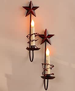 Amazon.com: Primitive Country Home Collection - Stars Set of 2 LED Candle Sconces: Kitchen & Dining