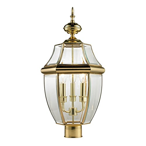 Cornerstone Ashford 3 Light Outdoor Post Lantern in Antique Brass