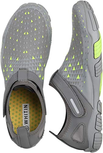 (WHITIN Men's Quick Drying Water Shoes for Aqua Hiking Trail Running Sport Minimalist Barefoot Wave Walking Beach Swim Surf Outdoor Kayaking Athletic Male Grey Size 13)
