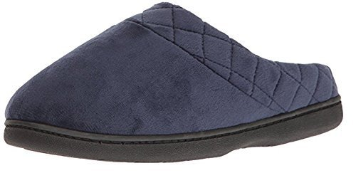 Dearfoams Womens Velour Quilted Clog Slippers (Medium, Peacoat)
