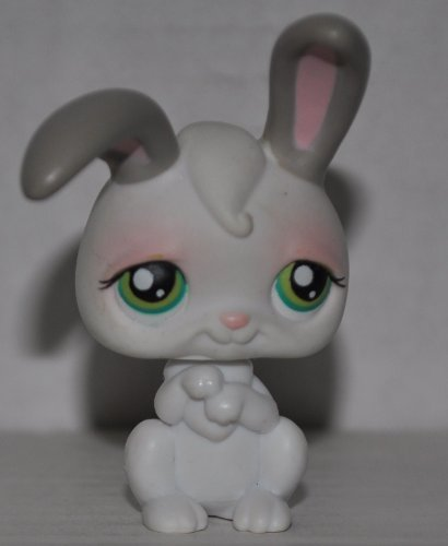 Rabbit #211 White, green eyes, grey ears Collector Toy - Littlest Pet Shop Loose OOP Out of Package /& Print Retired LPS Collectible Replacement Figure