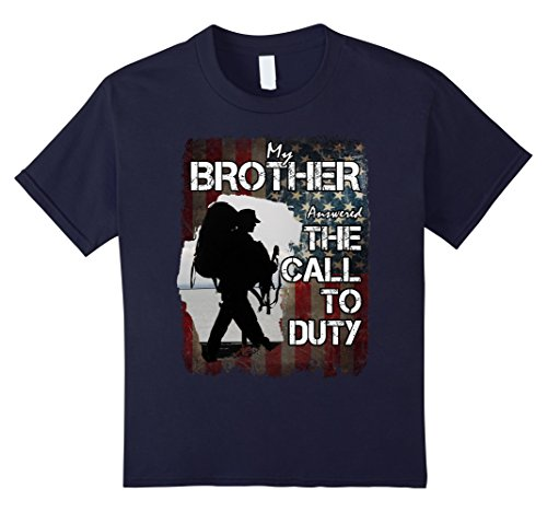Price comparison product image unisex-child My Brother Answered the Call to Duty military tee 12 Navy