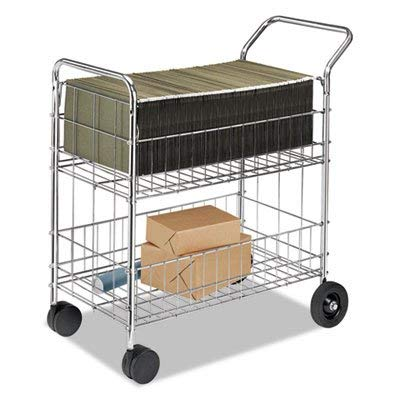 Wire Mail Cart, 21-1/2w x 37-1/2d x 39-1/4h, Chrome, Sold as 1 Each (Renewed)