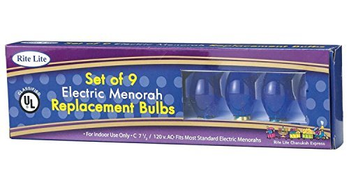 9ct Blue C7 1/2 Electric Hanukkah Menorah Glass Replacement Bulbs (Light Menorah Hanukkah)