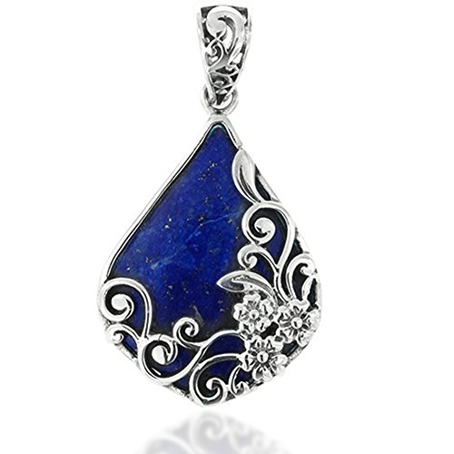 Deep Blue Lapis Pendant - Chuvora 925 Oxidized Sterling Silver Decorative Blue Lapis Gemstone Triangle Tear Drop Pendant