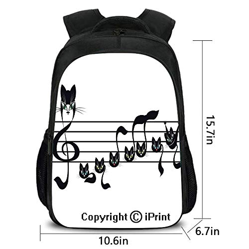 Travel Waterproof Backpack,Notes Kittens Kitty Cat Artwork Notation Tune Children Halloween Stylized,School Bag :Suitable for Men and Women,School,Travel,Daily use,etc.]()