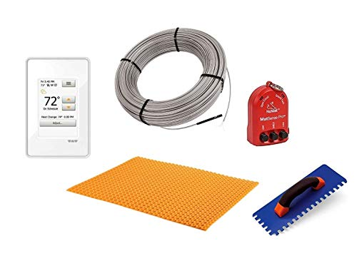 Schluter Ditra Performance Floor Heating Kit -21 Square Feet- Includes Touchscreen Programmable Thermostat, Heat Membrane, Heat Cable DHEHK12021, Safe Installation Tools
