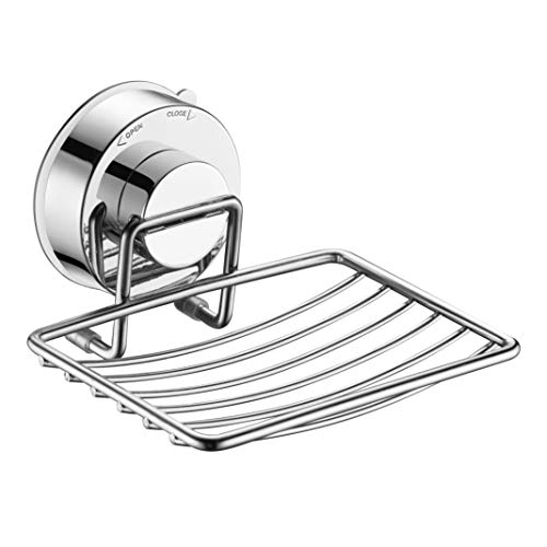 AQUAKIN Suction Cup Soap Dish,Stainless Steel Suction Cup Soap Holder for Bathroom,Tub(Chrome) ()