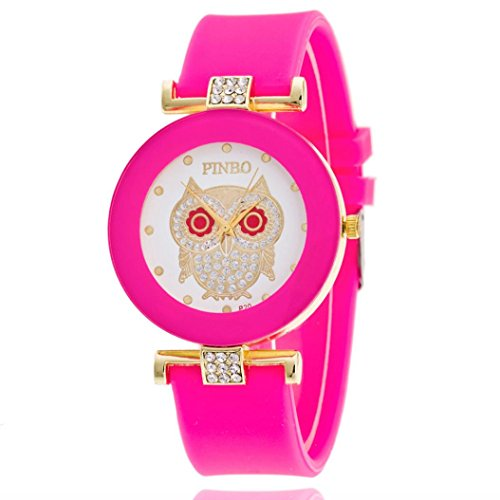 GBSELL Fashion Women Owl Silicone Diamond Jelly Gel Quartz Analog Sport Wrist Watch,Hot Pink
