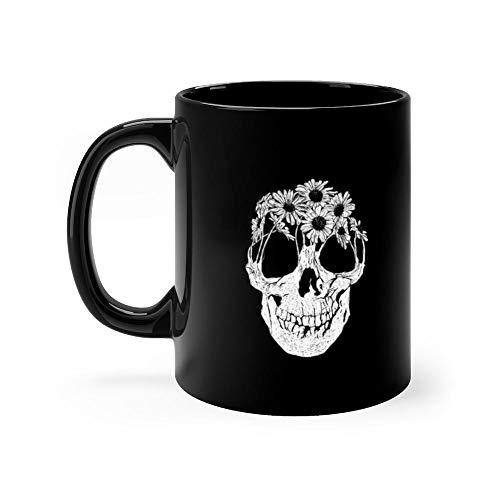 Pushing Daisies 11 oz Ceramic Black Graphic Design, Printed Ceramic Coffee Mug Water Tea Drinks Cup ()